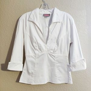 Pump Couture Tapered Tailored White Blouse M